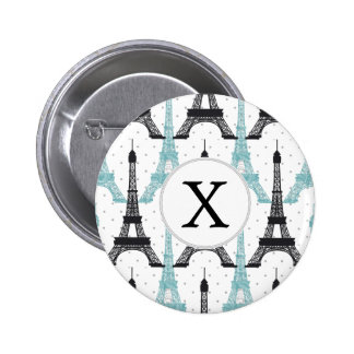 Monogram Aqua Chic Eiffel Tower Pattern Pinback Button