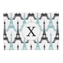 Monogram Aqua Chic Eiffel Tower Pattern Placemat