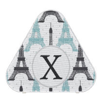 Monogram Aqua Chic Eiffel Tower Pattern Speaker