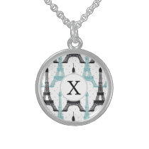 Monogram Aqua Chic Eiffel Tower Pattern Sterling Silver Necklace