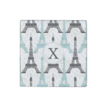 Monogram Aqua Chic Eiffel Tower Pattern Stone Magnet