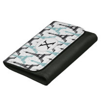 Monogram Aqua Chic Eiffel Tower Pattern Women's Wallet