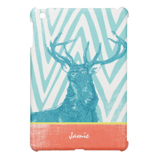 Monogram Aqua Coral Zig Zag Deer iPad Mini Case