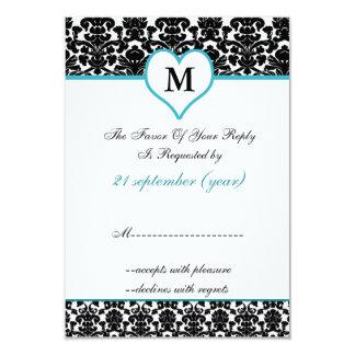monogram aqua damask standard 3.5 x 5 rsvp 3.5x5 paper invitation card