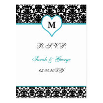monogram aqua damask wedding  rsvp postcard