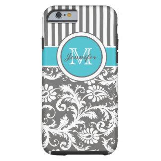 Monogram Aqua Gray White Striped Damask Tough iPhone 6 Case