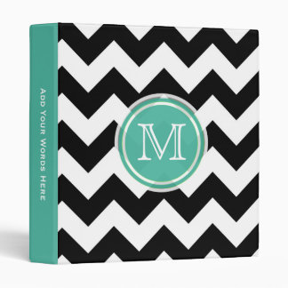 Monogram: Aqua Green, Black & White Chevron Binder