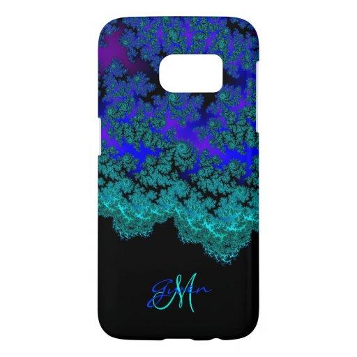 monogram aqua n royal blue fractal galaxy s7 case zazzle