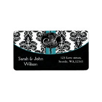 Monogram aqua ,return address label
