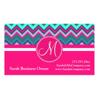 Monogram Aqua Teal Blue Pink Tribal Chevron Zigzag Business Cards