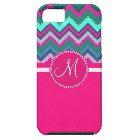 Monogram Aqua Teal Blue Pink Tribal Chevron Zigzag iPhone 5 Covers