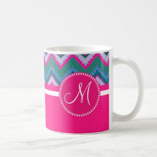 Monogram Aqua Teal Blue Pink Tribal Chevron Zigzag Classic White Coffee Mug