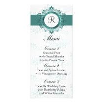 monogram aqua wedding menu