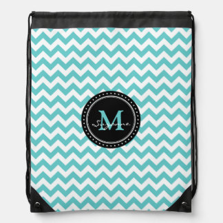 Monogram Aqua White Abstract Chevron | Elegant Drawstring Backpack