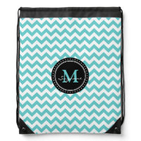 Monogram Aqua White Abstract Chevron | Elegant Backpack