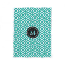 Monogram | Aqua White Trellis Pattern Fleece Blanket