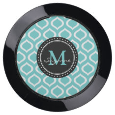 Monogram | Aqua White Trellis Pattern Usb Charging Station at Zazzle