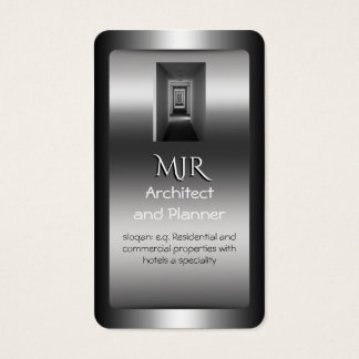 Monogram, Architect and Planner, chrome-effect Business Card
