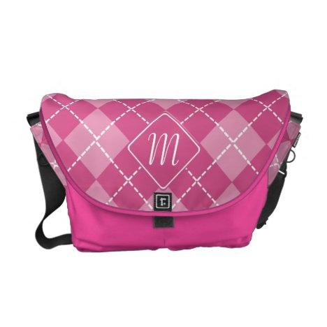 Monogram Argyle in Shades of Pink Messenger Bag
