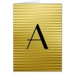 Monogram Art Deco Gold Satin Stripes Stationery Note Card