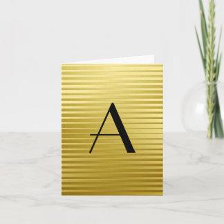 Monogram Art Deco Gold Satin Stripes Note Card