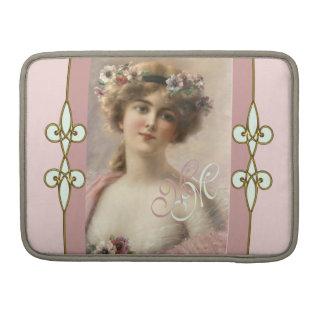 Monogram Art Nouveau Vintage Victorian Lady Sleeve For MacBook Pro