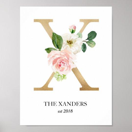 Monogram Art Print Floral Letter X Wedding Gift Poster Zazzle Com