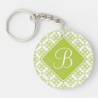 Monogram Atlantis Green Star Damask on White Double-Sided Round Acrylic Keychain