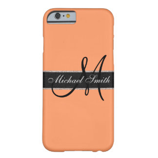 Monogram Atomic tangerine Color Background Barely There iPhone 6 Case