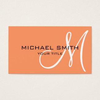 Monogram Atomic tangerine color background Business Card