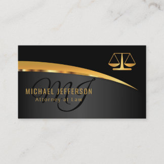 Monogram Attorney at Law - Black and Gold Business Card