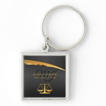 Monogram Attorney at Law - Black and Gold Keychain