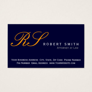 Monogram Attorney at Law Blue Business Card