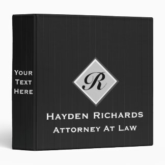 Monogram Attorney Lawyer Black Pinstripes 3 Ring Binder