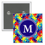 Monogram Autism Awareness Aspergers Puzzle Pattern 2 Inch Square Button
