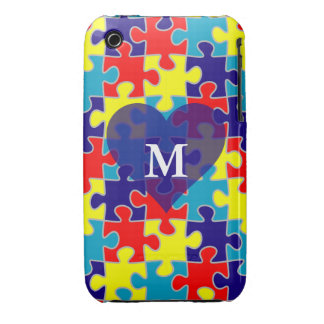 Monogram Autism Awareness Aspergers Puzzle Pattern iPhone 3 Covers