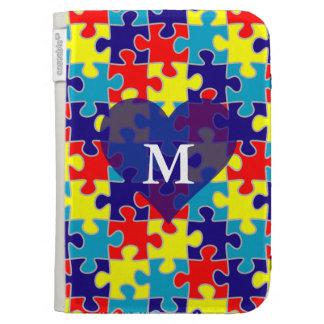 Monogram Autism Awareness Aspergers Puzzle Pattern Kindle 3 Case