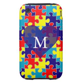Monogram Autism Awareness Aspergers Puzzle Pattern Tough iPhone 3 Cases