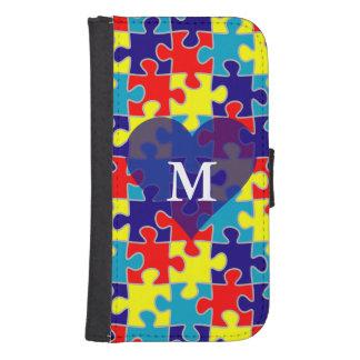 Monogram Autism Awareness Aspergers Puzzle Pattern Galaxy S4 Wallet Case