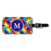 Monogram Autism Awareness Aspergers Puzzle Pattern Luggage Tag