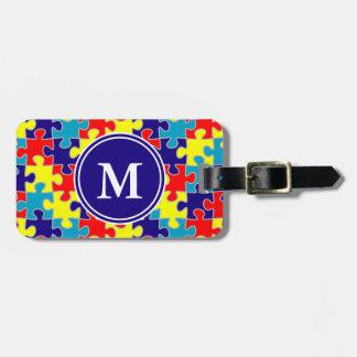 Monogram Autism Awareness Aspergers Puzzle Pattern Luggage Tag