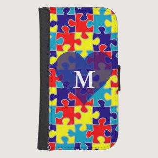 Monogram Autism Awareness Aspergers Puzzle Pattern Phone Wallet