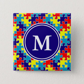 Monogram Autism Awareness Aspergers Puzzle Pattern Pinback Button