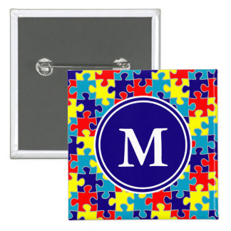Monogram Autism Awareness Aspergers Puzzle Pattern Pinback Button