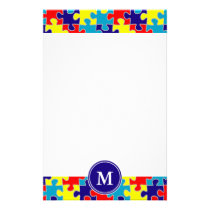 Monogram Autism Awareness Aspergers Puzzle Pattern Stationery