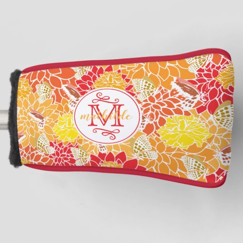 Monogram Autumn Butterflies Flowers Fall Colors Golf Head Cover