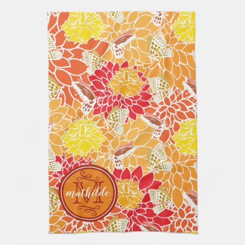 Monogram Autumn Butterflies Flowers Fall Colors Hand Towel