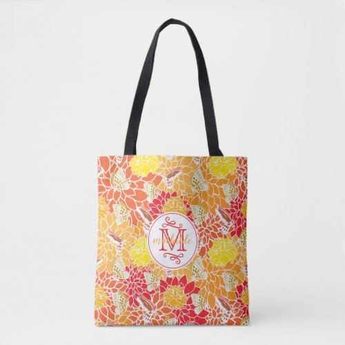 Monogram Autumn Butterflies Flowers Fall Colors Tote Bag