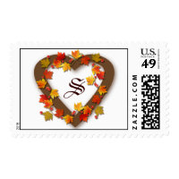 Monogram Autumn Leaves Heart Postage Stamp