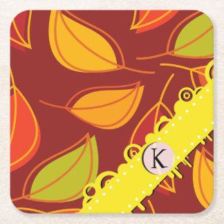 Monogram - Autumn Leaves (Leaf) - Orange Yellow Square Paper Coaster